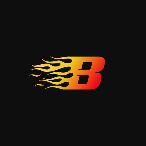 lettera B Modello di progettazione logo fiamma ardente vettore