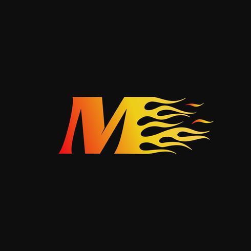 lettera M Modello di progettazione logo fiamma ardente vettore
