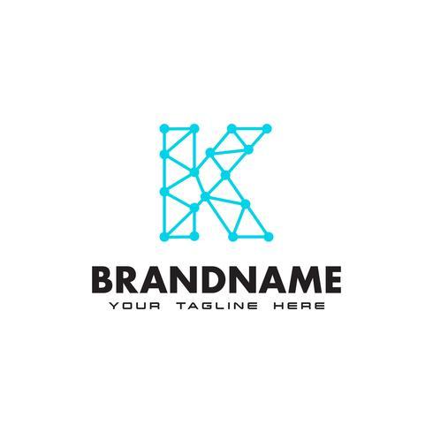 Modello di progettazione di logo di connessione di rete punto lettera K vettore