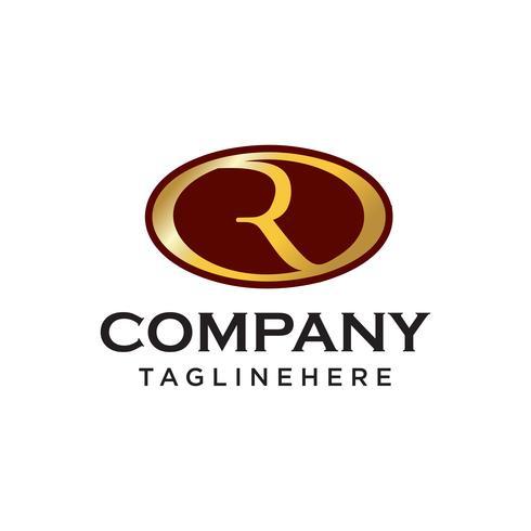 R logo aziendale ovale iniziale vettore