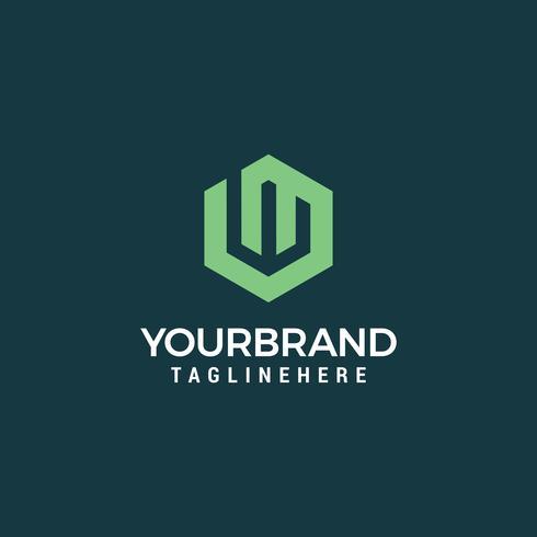 Modello di progettazione di logo astratto lettera W. segno di esagono creativo. U vettore