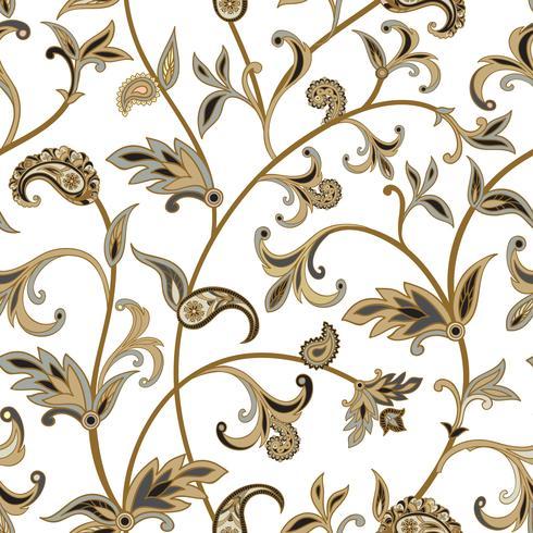 Motivo floreale piastrellato Flourish sfondo orientale. Ornamento wi vettore