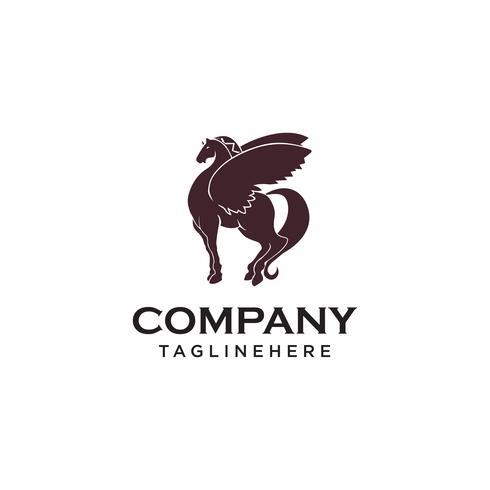 logo di cavallo pegasus ala vettore