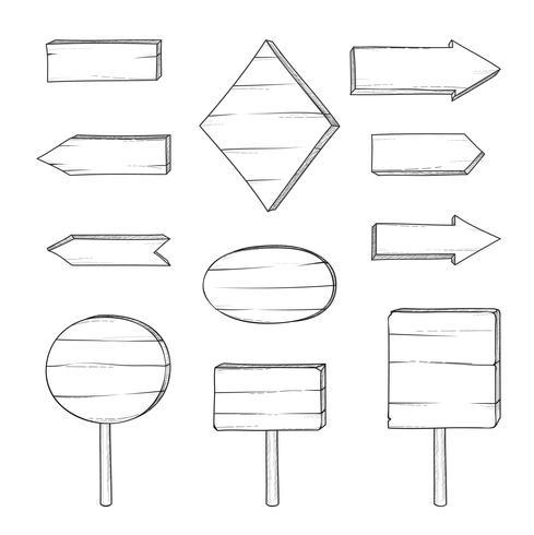 Segnale stradale e freccia di legno. Set di tavole incisione retrò. Puntatore a vettore