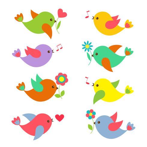 Uccelli di primavera colorati con fiori vettore