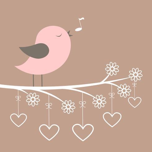Carino uccello rosa cantare con fiori e cuori di pizzo vettore