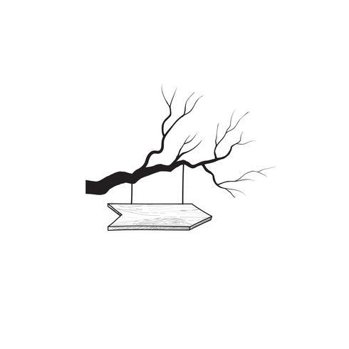 Cartello freccia sul ramo di un albero. Doodle cartello stradale in legno. Piano vettore