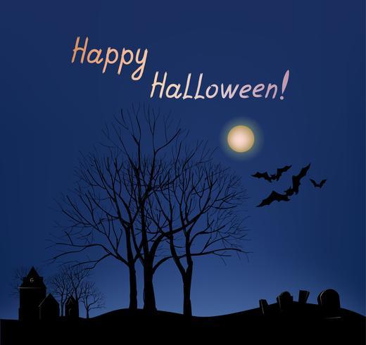 Sfondo di cartolina d'auguri di Halloween. Paesaggio di vacanza con tomba vettore