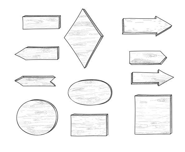Segnale stradale e freccia di legno. Insieme dell'insegna della plancia dell'incisione retro. vettore