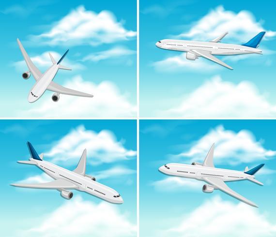 Un set di aeroplano sul cielo vettore