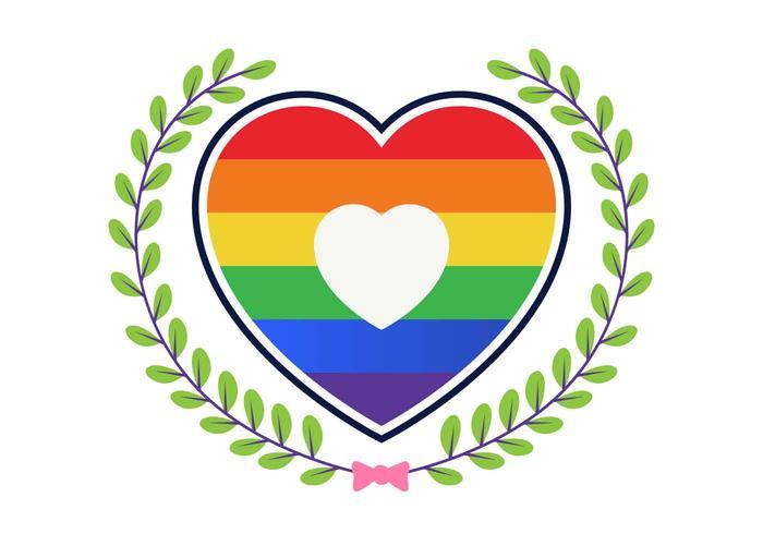 Amore con illustrazione vettoriale arcobaleno