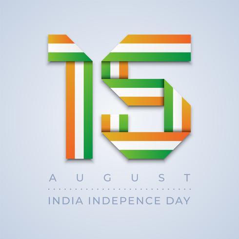 India Independence Day 15 agosto bandiera nastro vettore