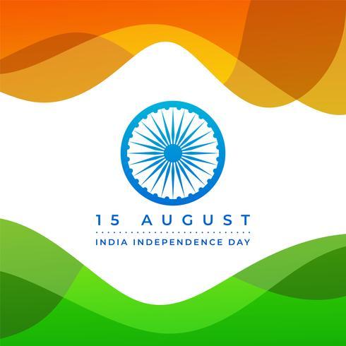 Felice giorno dell'indipendenza dell'India con sfondo astratto bandiera vettore