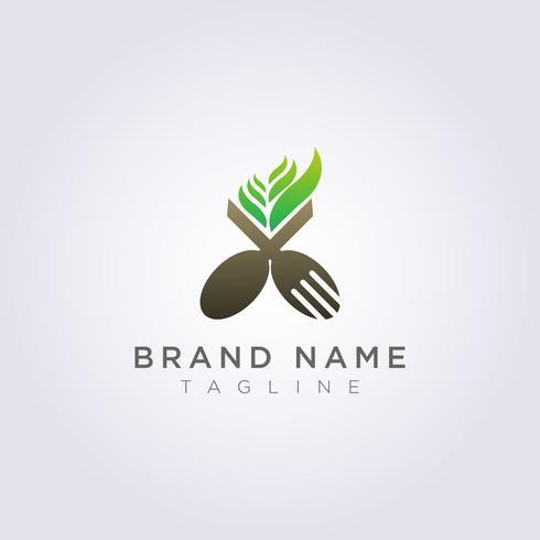 Forchetta con cucchiaio di logo con foglie per il tuo marchio di ristorante o azienda vettore