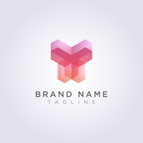 Rettangolare Logo geometrico Icon Design a forma di un essere umano vettore
