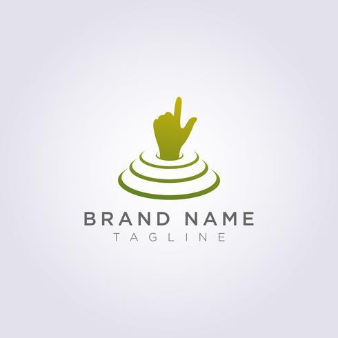 Il design del logo della mano è sul palco e punta alla tua attività o al tuo marchio vettore