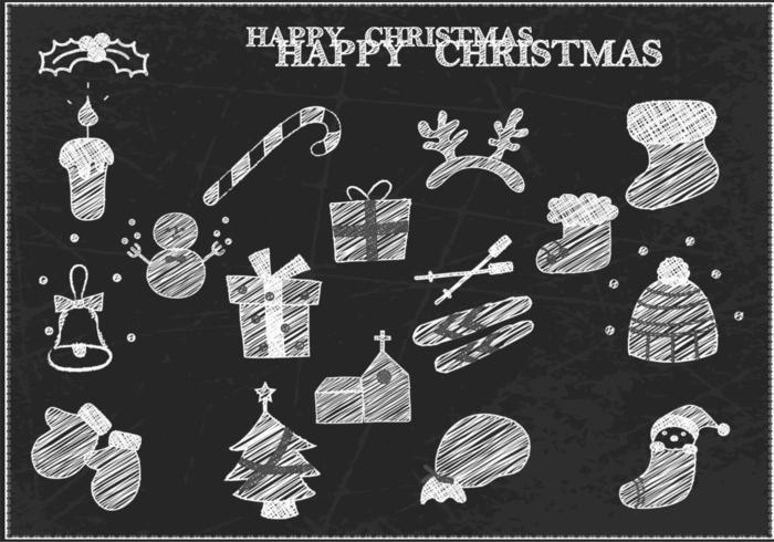 pacchetto di vettore di Natale disegnato gesso