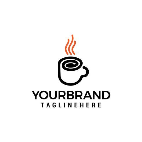 Vettore del modello di concetto di progettazione di logo della linea di vetro del caffè