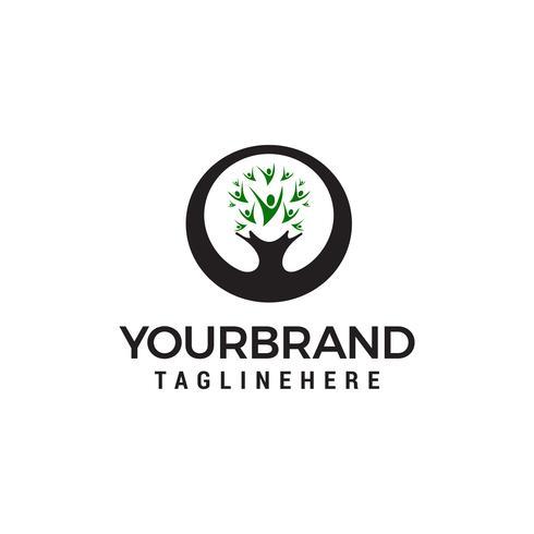albero persone logo Riciclare il logo fatto dalle foglie vettore