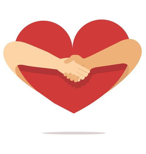 la mano della gente stringe la mano con il cuore vettore
