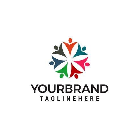 logo di persone della comunità, le persone collegano il modello di progettazione logo vettore
