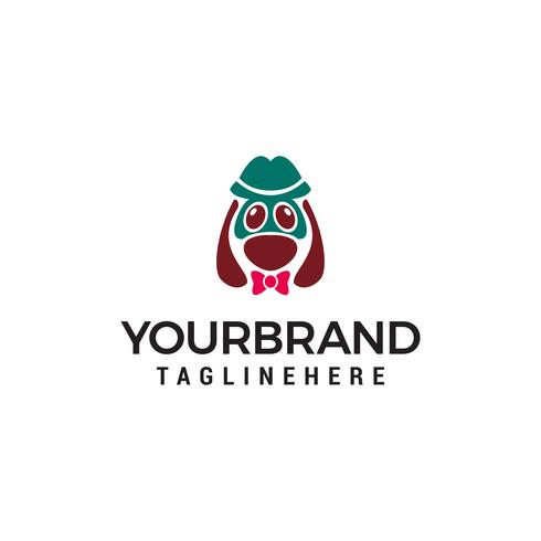 concetto di design logo carino testa cane vettore