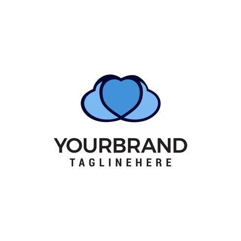 cuore amore nuvola logo design concetto modello vettoriale