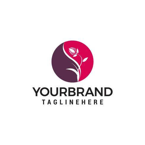 Vettore cosmetico del modello di concetto di progetto di logo della stazione termale del fiore