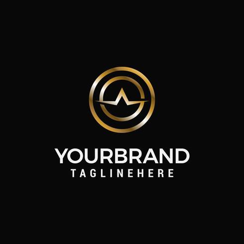 lettera un vettore di modello di lusso logo design oro modello vettoriale