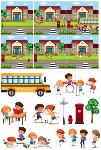 Set di scuola e studente vettore