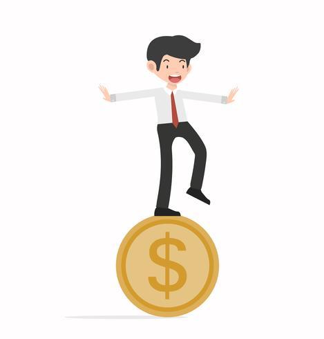 Uomo felice di affari sulla moneta di goin vettore