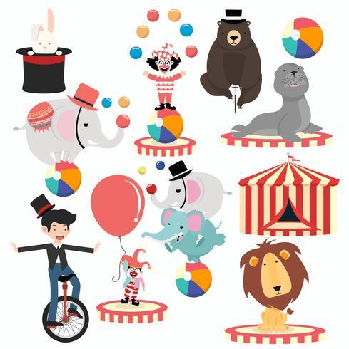 Insieme di festival del fumetto di personaggi del circo incantevole vettore