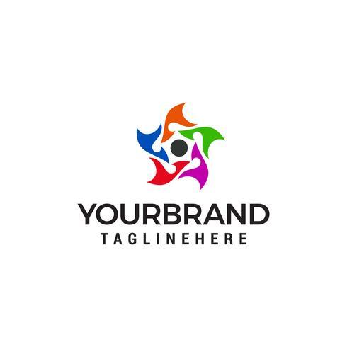 cinque persone stella business logo design concetto modello vettoriale