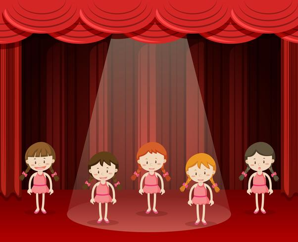 Balletto per bambini danza sul palco vettore