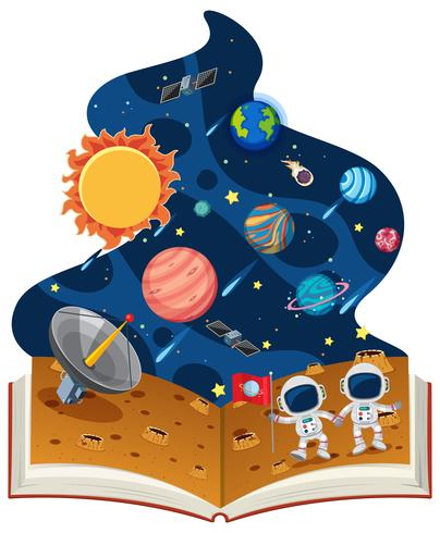Libro di astronomia con astronauti e pianeti vettore