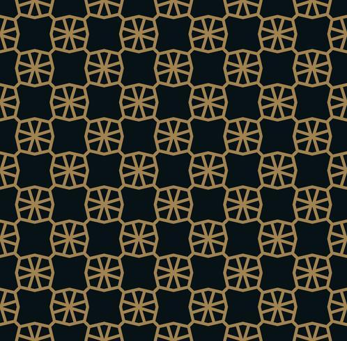 Modello senza cuciture delle linee d'oro sottili che si intersecano su sfondo nero. Ornamento senza soluzione di continuità astratta. vettore