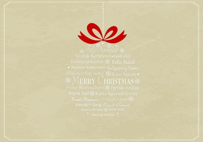Fondo multilingue di vettore dell'ornamento di Natale