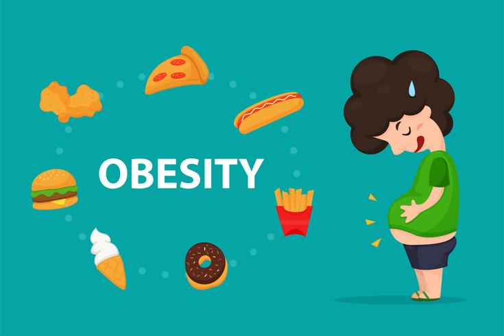 Obesità. La pancia di un uomo grasso che mangia Ma cibo spazzatura o fast food. vettore