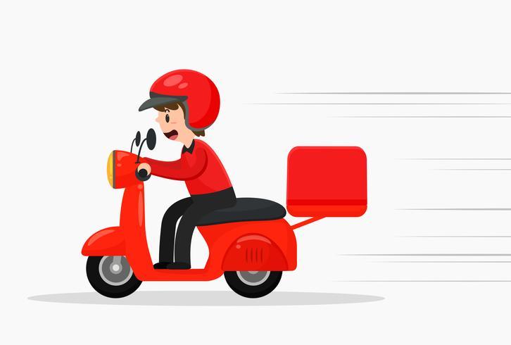 Il personale di consegna della pizza sta guidando rapidamente le motociclette per consegnare i prodotti. vettore