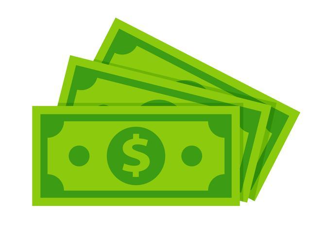 Isolato delle banconote del dollaro su fondo bianco. vettore