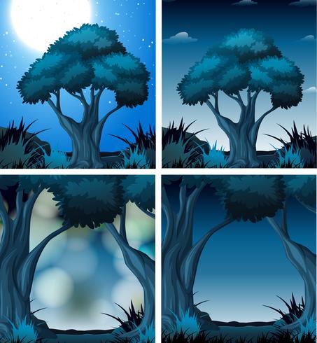 Set di foresta oscura notte vettore