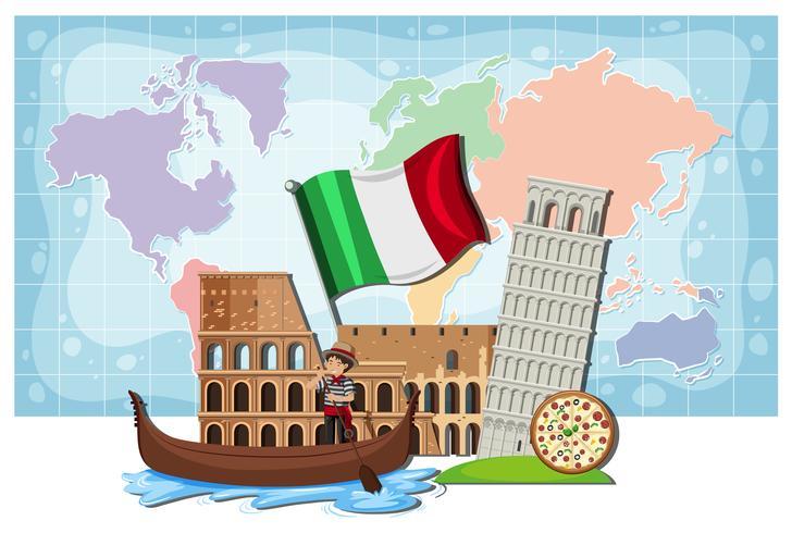 Un punto di riferimento e una mappa dell'Italia vettore