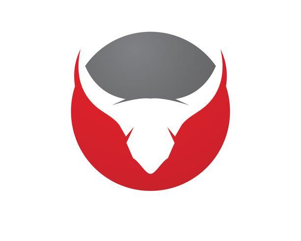 Icone del modello di logo e simboli del corno di toro vettore