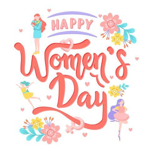 Calligrafia di testo della giornata internazionale della donna con fiore. Cartolina d'auguri dell'icona delle donne - illustrazione di vettore