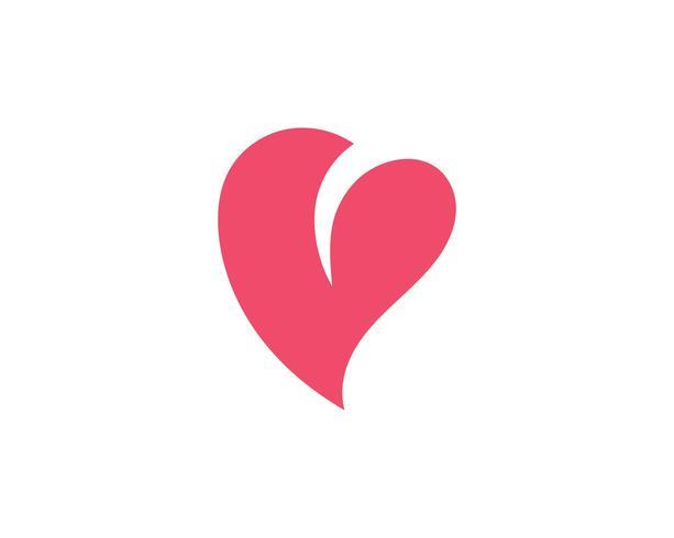 Amore cuore logo e modello vettore