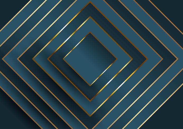 Astratto sfondo elegante con design quadrato in blu e oro vettore