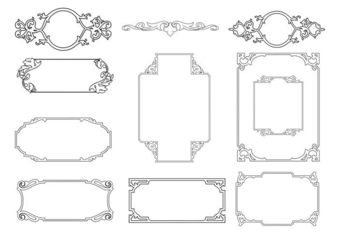 Delineato il pacchetto di vettore cornice ornamentale