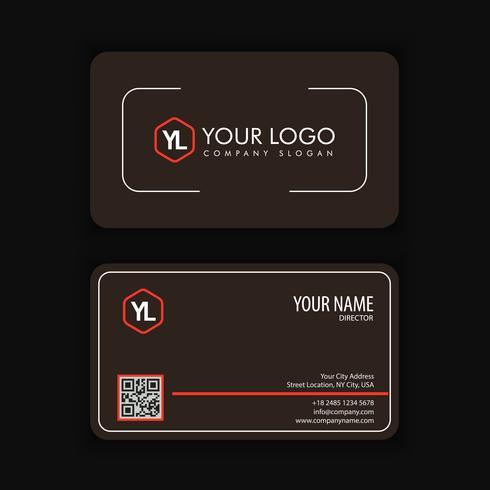 Modello moderno creativo e pulito del biglietto da visita con blackcolor rosso vettore