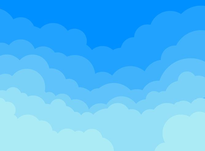 Nuvole di carta e sfondo blu cielo. vettore