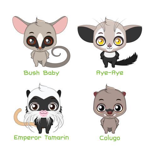 Set di piccole specie animali che vivono sull'albero vettore